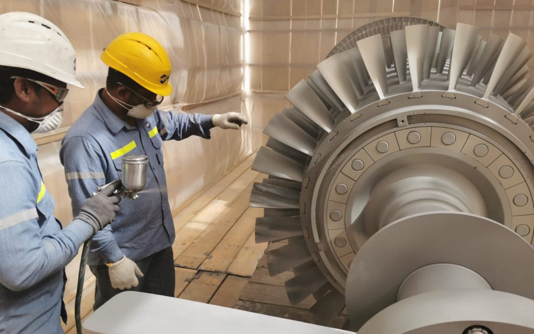 Sand blasting and painting works for gas turbine rotor at Power Department-Alba.